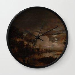 Aert van der Neer - Moonlit Landscape with new Amstel River and Castle Kostverloren (1647) Wall Clock
