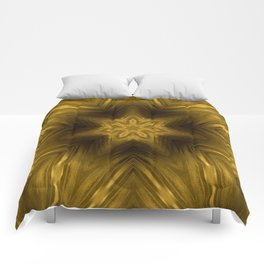 Golden Amber Metalic Abstract Star #Kaleidoscope Comforters