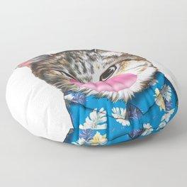 handsome cat blowing bubble gum Floor Pillow