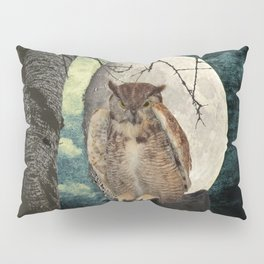 Great Horned Owl Bird Moon Tree A138 Pillow Sham