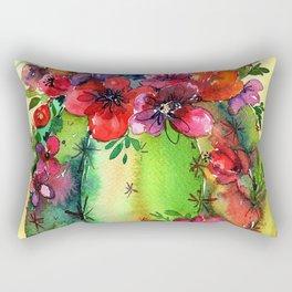 Honey Barrel Cactus Flowers Watercolor Rectangular Pillow
