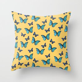 Blue Yellow Butterfly Glam #1 #pattern #decor #art #society6 Throw Pillow