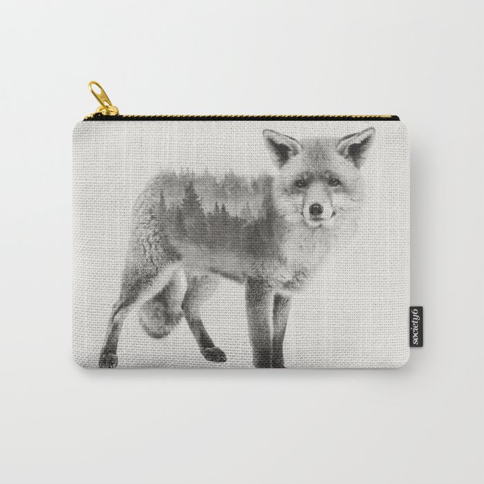 Fox Black and White Double Exposure Carry-All Pouch