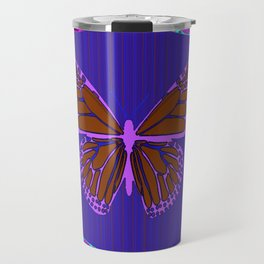 Purple Chocolate Lavender Blue Butterfly Night Abstract Travel Mug