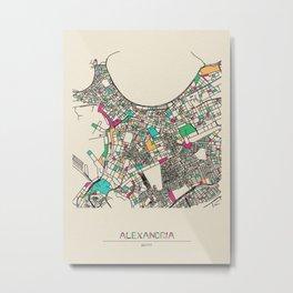 Colorful City Maps: Alexandria, Egypt Metal Print