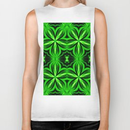 Vivid Green Electric Flower Pattern Biker Tank