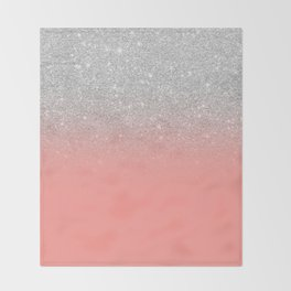 Modern chic coral pink silver glitter ombre gradient Throw Blanket