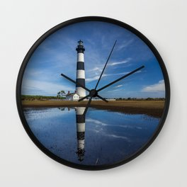 Carolina Blue Skies and Bodie Island Lighthouse Wall Clock