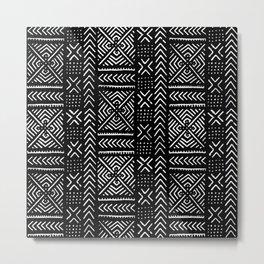 Line Mud Cloth // Black Metal Print