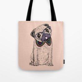Hipster Pug Tote Bag