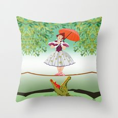 Halloween the girl with the crocodile iPhone 4 4s 5 5s 5c, ipod, ipad, pillow case and tshirt Throw Pillow