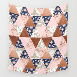 Floral bouquet pastel navy pink florals painted quilt metallic pattern basic minimal quilt pattern Wall Tapestry