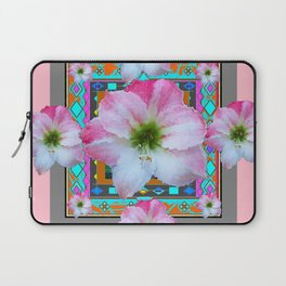PINK-TURQUOISE  AMARYLLIS WESTERN ART DESIGN Laptop Sleeve