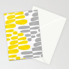 Abstract organic pattern yellow and gray Stationery Cards