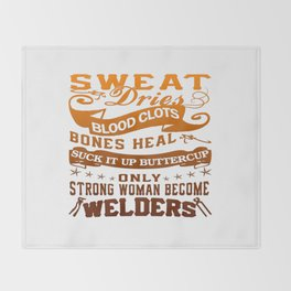 Welder Woman Throw Blanket
