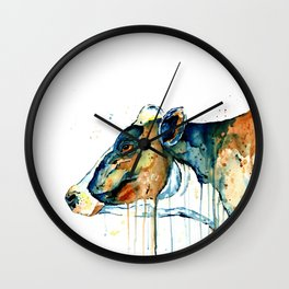 Dairy Cow - Feeling Blue - Watercolor Painting Wall Clock