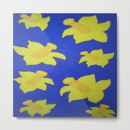 Pop Art Daffodils Blue Metal Print
