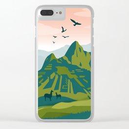 Machu Picchu Illustration by Cindy Rose Studio Clear iPhone Case