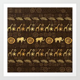 Ethnic African Pattern- browns and golds #1 Art Print