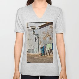 Laundry day in Faro, Portugal Unisex V-Neck
