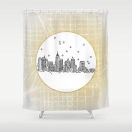 Atlanta, Georgia City Skyline Illustration Drawing Shower Curtain
