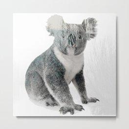 Double Exposure Autumn Koala Metal Print