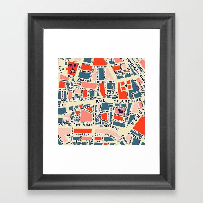 paris map blue Gerahmter Kunstdruck
