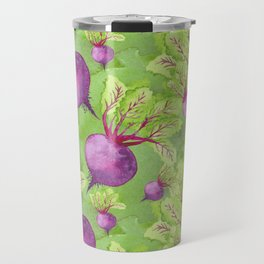 Beets on Green Background Watercolor Travel Mug