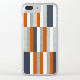 Orange, Navy Blue, Gray / Grey Stripes, Abstract Nautical Maritime Design by Clear iPhone Case