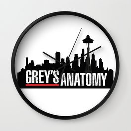 Grey's Anatomy black Wall Clock