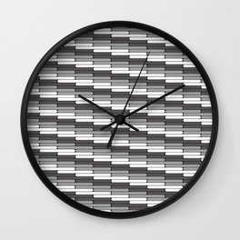 Staggered Oblong Rounded Lines Pattern Pantone Pewter Gray Wall Clock