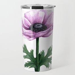 Pink Anemone Flower Painting Travel Mug
