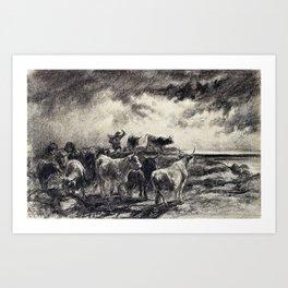 Rosa Bonheur - A Cowherd Driving Cattle - Digital Remastered Edition Art Print