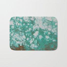 Aquamarine Dream, abstract acrylic fluid painting Bath Mat