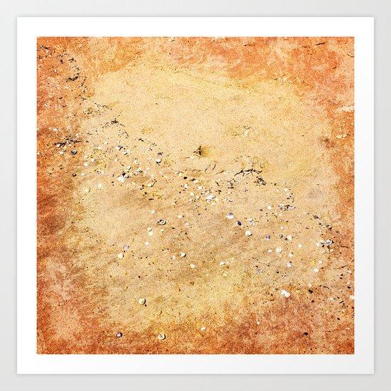 Sea shells on sand Art Print