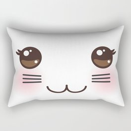 Kawaii funny cat muzzle with pink cheeks and big black eyes on white background Rectangular Pillow