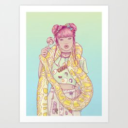 Candid Candy Lady Art Print