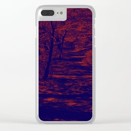 along the river, red & blue Clear iPhone Case