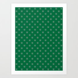 Cotton Candy Pink on Cadmium Green Snowflakes Art Print