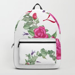 Floral wreath with rose and leaves in heart form Backpack