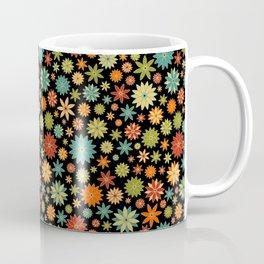 Flower Field Bright Colors on Black Coffee Mug