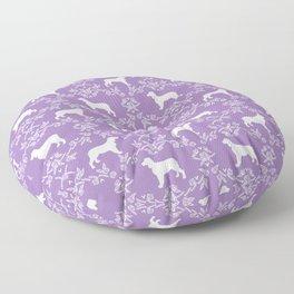 English Springer Spaniel dog breed floral pet portraits dog silhouette dog pattern Floor Pillow