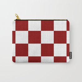 Large Checkered - White and Dark Red Carry-All Pouch
