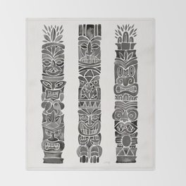 Tiki Totems – Black Throw Blanket