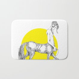 Young centaur with headphones and mp3 player Bath Mat