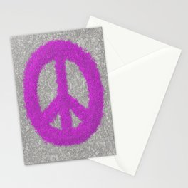 Fuchsia Splat Painted Peace Sign Stationery Cards