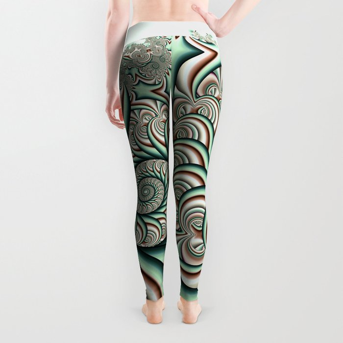 Owl Fractal Chocolate Mint Leggings