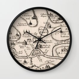 Vintage Map of Rome Italy (1649) Wall Clock