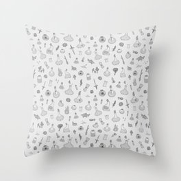 Dungeons and Dragons Magic and Potions in White Throw Pillow