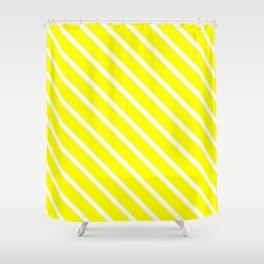 Neon Yellow Diagonal Stripes Shower Curtain